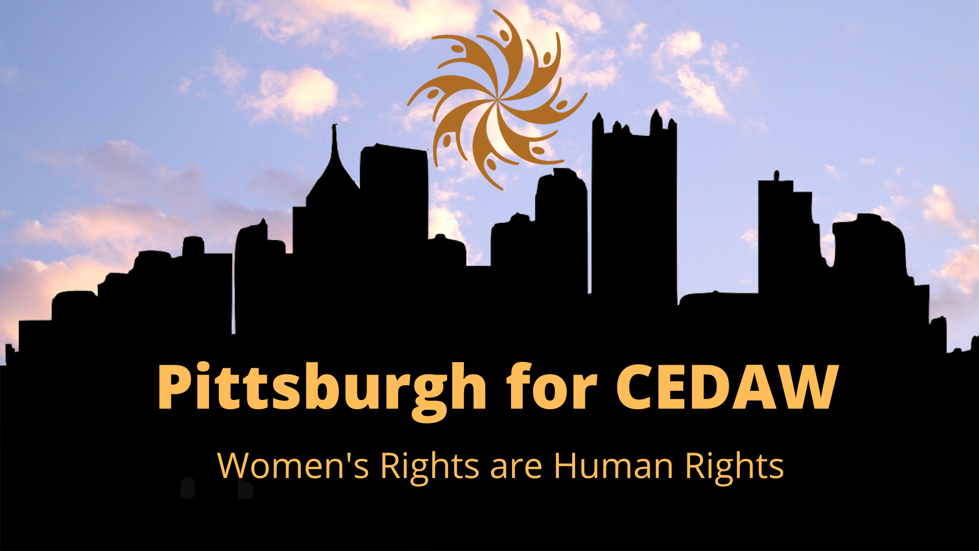 pittsburgh for cedaw text, pittsburgh city skyline silhouette